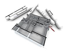 Housing project design - stock illustration
