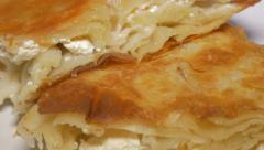 Burek Serbian well known  fast food made from dough and cheese 4K 2160p UHD v Stock Footage