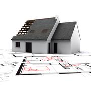 house on blueprints with red corrections - stock illustration