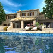 Magnificent villa with pool - stock illustration