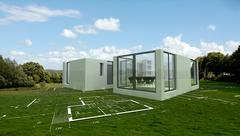 Modern architecture project in the countryside, Stock Illustration