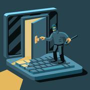 Hacker breaks into computer Stock Illustration