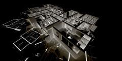 Negative architecture mockup on blueprints Stock Illustration