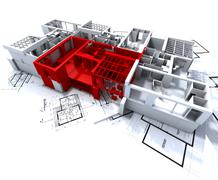 Red apartment mockup on blueprints Stock Illustration