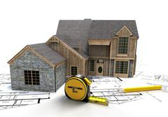 Rustic house construction Stock Illustration