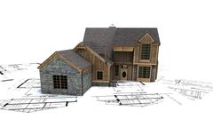 Rustic house on top of architect's blueprints Stock Illustration