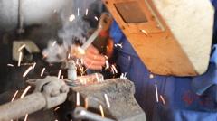 Metal Hard Work ,Welder man grinding at the factory Stock Footage