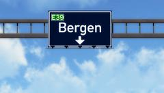 4K Passing Bergen Norway Highway Road Sign with Matte 2 stylized Stock Footage