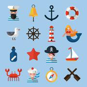 Nautical Icons Set - stock illustration