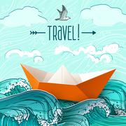 Paper Ship On Waves Stock Illustration