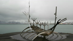 The Sun Voyager time lapse with cloudy sky Stock Footage