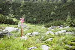No pedestrians sign in nature park - stock photo
