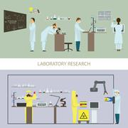 Laboratory Research by Group of Scientists. - stock illustration