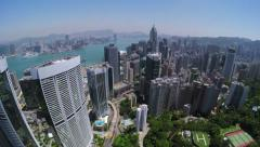 Beautiful Clear Sky Hong Kong City Aerial. - stock footage