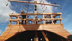 Interior of the Nao Victoria, Magellan's ship replica in Punta Arenas. Stock Footage