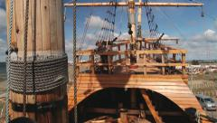 Exterior detail of the Nao Victoria, Magellan's ship replica in Punta Arenas. - stock footage