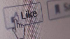 Social Media Extreme Macro CU & Dolly Move to 'Like' Button - stock footage