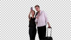 K14A8770 - Couple on vacation takes selfie Stock Footage