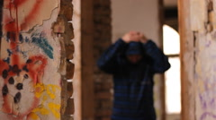 Hip Hop Rap Ghetto  kids in the abandone graffitti  house Stock Footage
