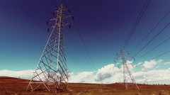 4K Electricity,high voltage pylons,power transmission lines,cinematic grade Stock Footage