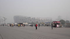 CHINA BEIJING NATIONAL STADIUM AIR POLLUTION SMOG Stock Footage