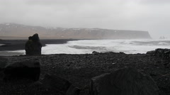 Dyrholaey on a stormy day on the south coast of Iceland Stock Footage