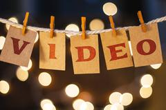 Video Concept Clipped Cards and Lights - stock photo