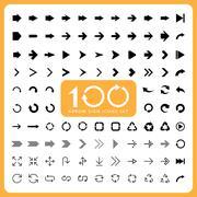 100 Basic arrow sign icons set Stock Illustration