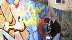 Street art people and urban wall graffiti Stock Footage
