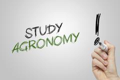 Hand writing study agronomy Stock Photos