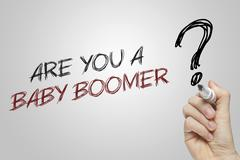 Hand writing are you a baby boomer - stock photo