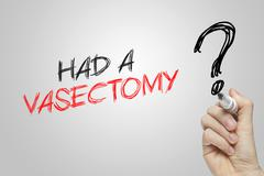 Hand writing had a vasectomy Stock Photos