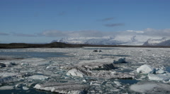 Pan from the Jökulsárlón Glacier lagoon in southeast Iceland Stock Footage