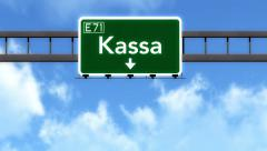 4K Passing Kassa Slovakia Highway Road Sign with Matte 2 stylized Stock Footage