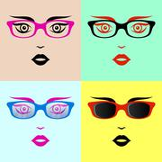 Woman faces with glasses Stock Illustration