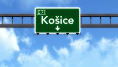 4K Passing Kosice Slovakia Highway Road Sign with Matte 2 stylized Stock Footage