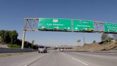 Hollywood 101 Freeway Sign Los Angeles Stock Footage
