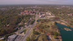 Aerial of small midwest town - stock footage