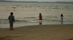 4k Shot of Girls Playing on Beach in Goa Stock Footage