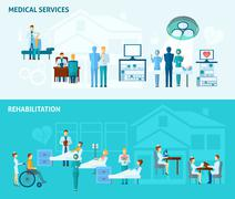 Doctors Banner Set - stock illustration