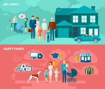 Family Banner Set Stock Illustration