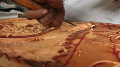 Local Wood Carver works in his wood shop - PALAU Stock Footage