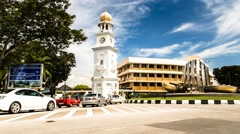 Timelapse of Traffic in front of Queen Victoria Memorial Clock Tower in Penang Stock Footage