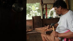 Wood Worker and Product in PALAU Stock Footage