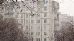 Snowstorm On Blurred Background Of The House Stock Footage