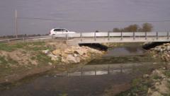 Steel beam bridge in rural midwest Stock Footage