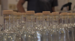 Distillery Gin Bottles Getting Ready For Labeling and Shipment Stock Footage