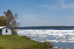 Spring Ice Thaw with Copy Space - stock photo