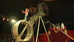 Two acrobat without insurance risk under the big top Stock Footage