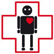 Human silhouette medical icon of heart failure Stock Illustration